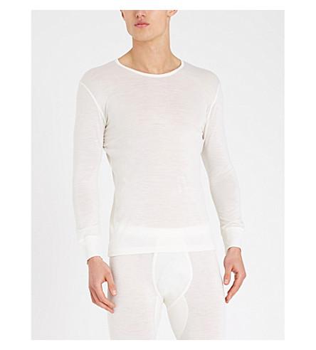 ZIMMERLI Crewneck wool and silk-blend pyjama top (Ecru