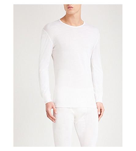 ZIMMERLI Crewneck wool and silk-blend pyjama top (Off+white