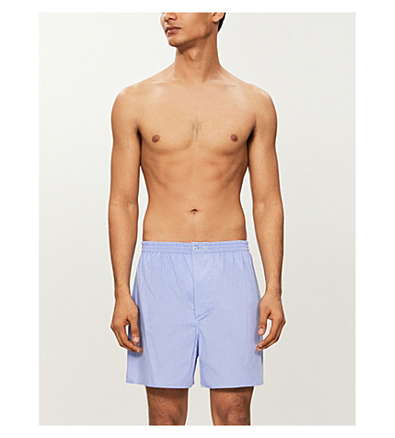ZIMMERLI Woven relaxed-fit cotton boxer shorts (Blue