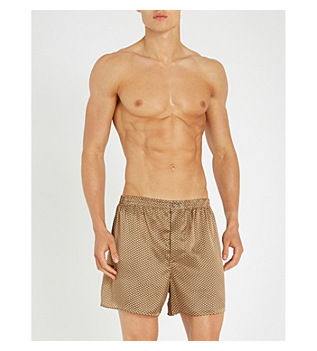 ZIMMERLI Patterned relaxed-fit silk boxer shorts (Gold