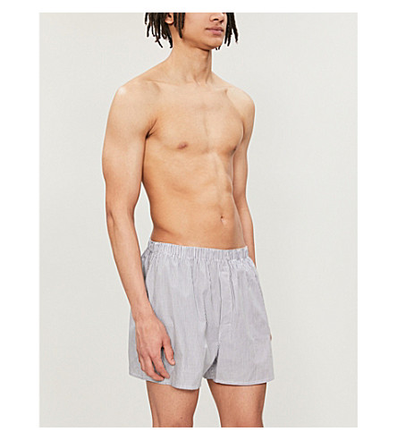 SUNSPEL Pinstripe relaxed-fit cotton boxer shorts (Wht+navy