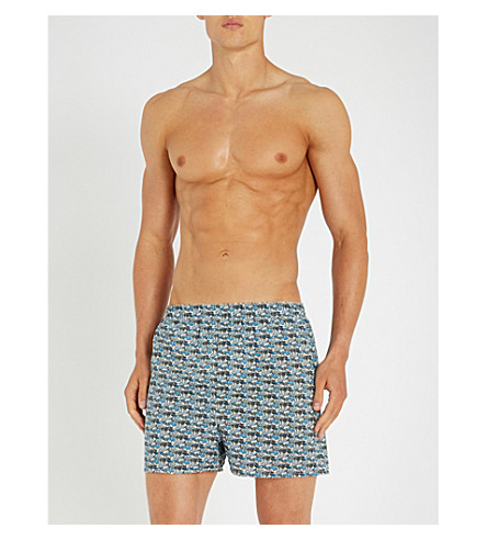 SUNSPEL Liberty-print relaxed-fit cotton boxers (Blues