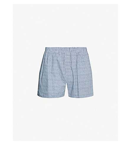 SUNSPEL Printed relaxed-fit cotton-woven boxers (Blue