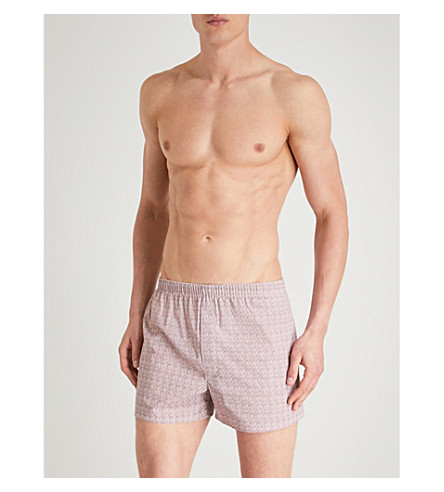 PANTHERELLA Printed relaxed-fit cotton-woven boxers (Bordeaux