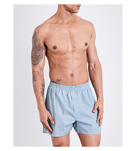 SUNSPEL Printed relaxed-fit cotton-woven boxers (Green+blue