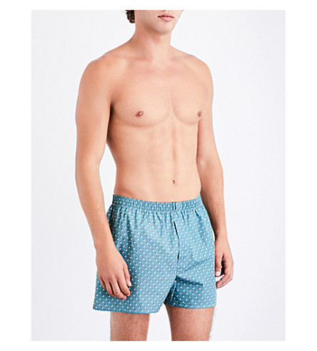 SUNSPEL Striped relaxed-fit cotton-woven boxers (Lt+green