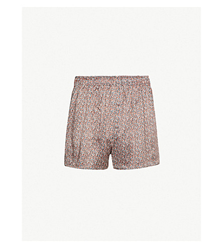 SUNSPEL Frog-print relaxed-fit silk boxer shorts (Gold