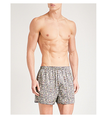 SUNSPEL Frog-print relaxed-fit silk boxer shorts (Greens