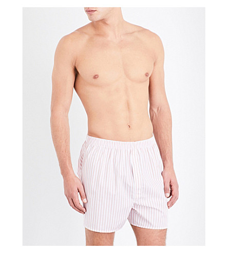 SUNSPEL Striped relaxed-fit cotton boxers (Lt+pink