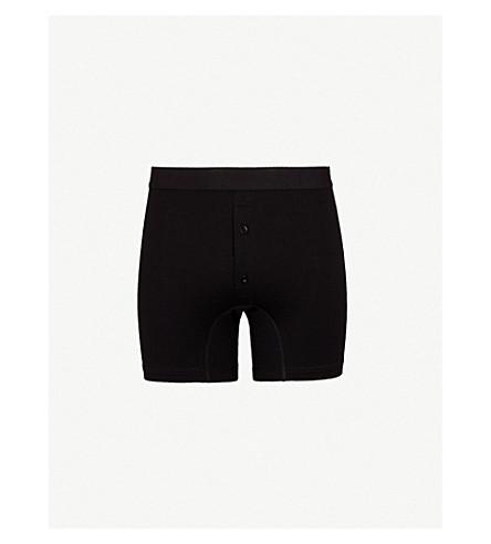 SUNSPEL Superfine slim-fit Egyptian cotton boxer shorts (Black