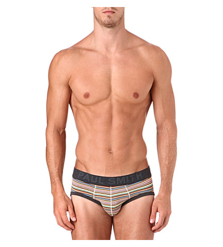 PAUL SMITH Striped stretch-cotton briefs (Multistripe