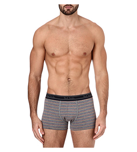 PAUL SMITH Striped cotton trunks (Grey