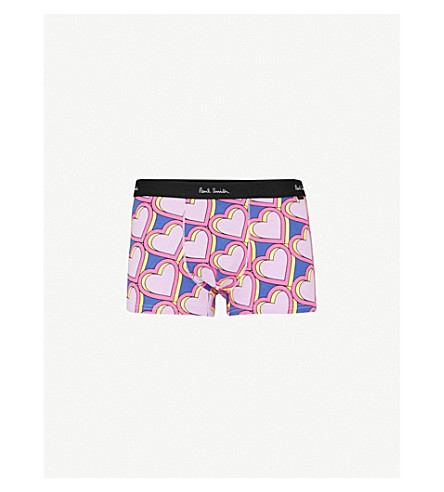 PAUL SMITH Love Heart-print regular-fit stretch-cotton trunks (Pink