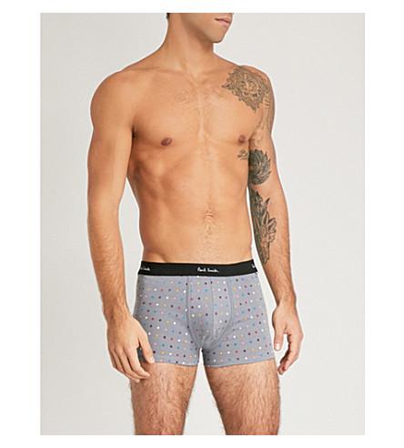 PAUL SMITH Regular-fit polka dot-patterned stretch-ctton trunks (Grey+multi