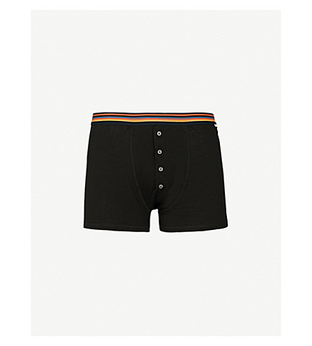 PAUL SMITH Regular-fit striped cotton trunks (Black