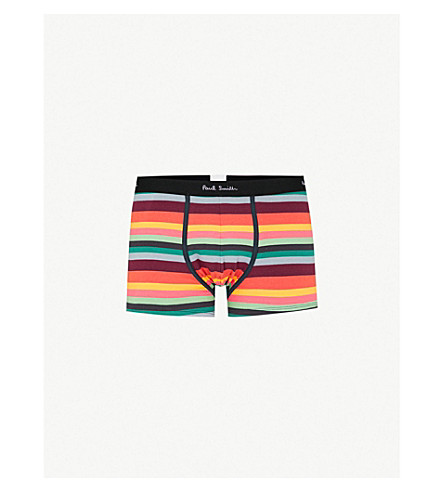 PAUL SMITH Pack of three striped stretch-cotton boxers (Black+white+multi
