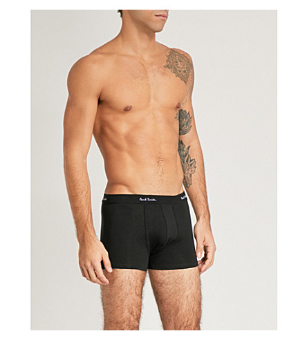 PAUL SMITH Pack of three regular-fit stretch-cotton trunks (Black
