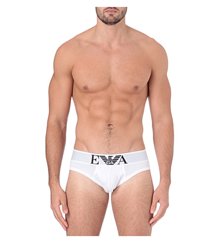 EMPORIO ARMANI Stretch-cotton briefs (White