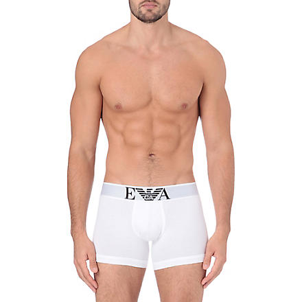 EMPORIO ARMANI Stretch–cotton trunks (White