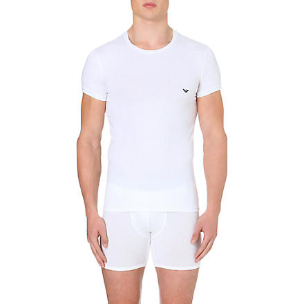 EMPORIO ARMANI Stretch–cotton t–shirt (White
