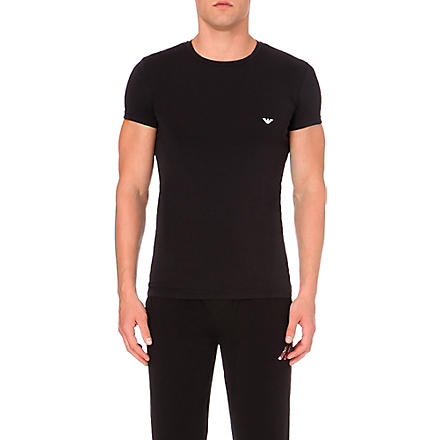 EMPORIO ARMANI Stretch–cotton t–shirt (Black