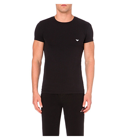 EMPORIO ARMANI Stretch-cotton t-shirt (Black