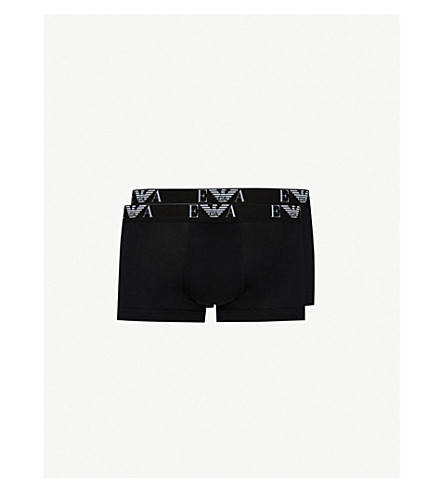 EMPORIO ARMANI Pack of two slim-fit stretch-cotton trunks (Black