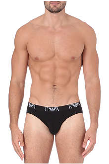 ARMANI Two pack logo–waistband hipster briefs