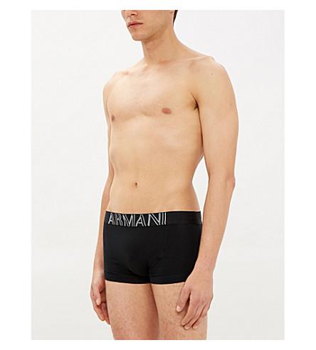 EMPORIO ARMANI Eagle slim-fit stretch-cotton trunks (Black