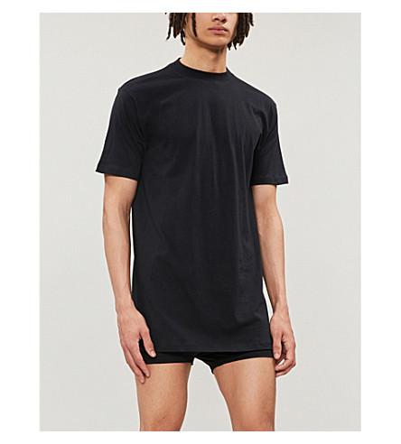 HOM 船员颈部棉 T 恤 (黑色