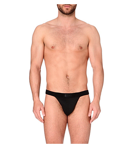 HOM Tanga cotton-blend briefs (Black