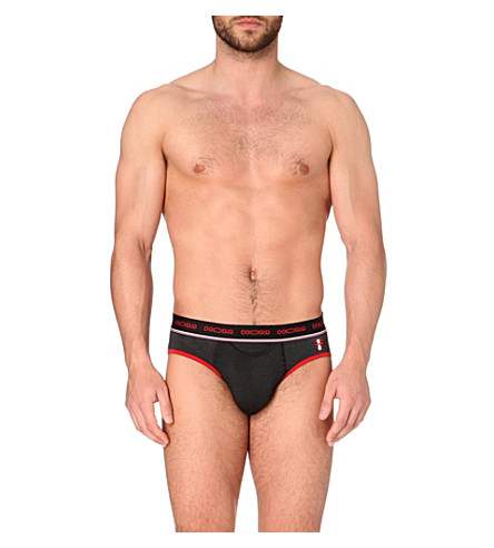 HOM Striped microfiber mini briefs (Black/red