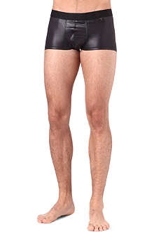 HOM Black Addict faux-leather hipster trunks