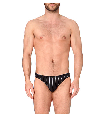 HOM Pinstripe stretch-cotton micro briefs (Black