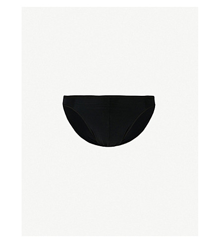 HOM 羽状修身版型超细纤维三角裤 (黑色