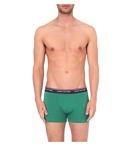 TOMMY HILFIGER Pack of three slim-fit stretch-cotton trunks (Navy+/+green+/+white