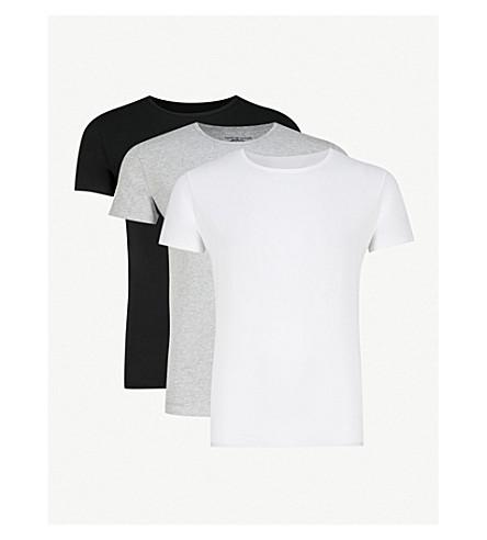 TOMMY HILFIGER Stretch-cotton T-shirt set (Blk+gry+wht