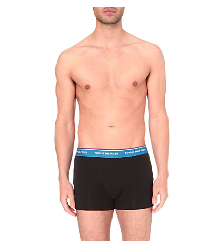 TOMMY HILFIGER Pack of three slim-fit stretch-cotton trunks (Black+multi