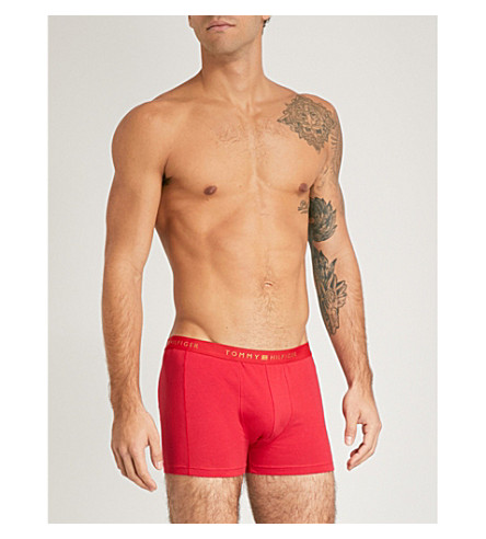 TOMMY HILFIGER Regular-fit stretch-cotton trunks (Red