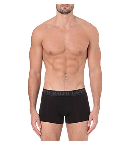 RALPH LAUREN Logo-embroidered trunks (Black