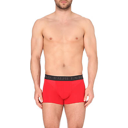 RALPH LAUREN Logo-embroidered trunks (Red