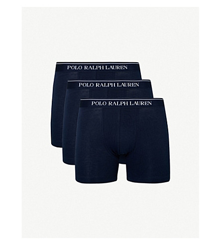 POLO RALPH LAUREN Pack of three slim-fit stretch-cotton boxer briefs (Navy