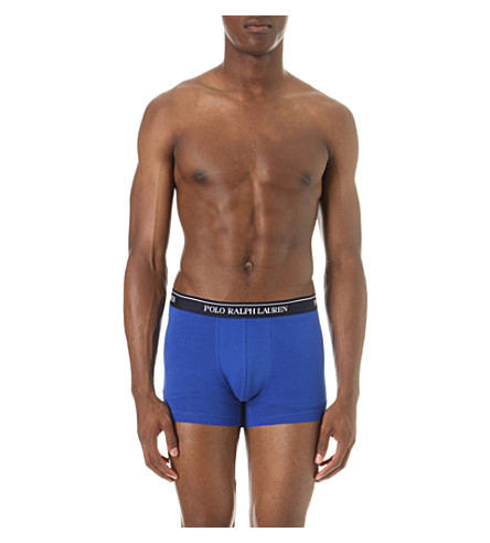 POLO RALPH LAUREN Pack of three stretch-cotton trunks (Blue+blk+orange