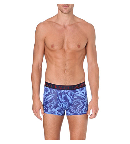 RALPH LAUREN Hawaiian print pouch trunks (Blue/lt blue