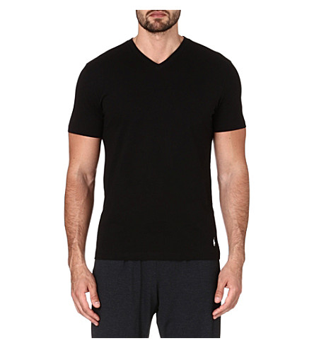 RALPH LAUREN Pack of two v-neck ribbed cotton t-shirts (Black