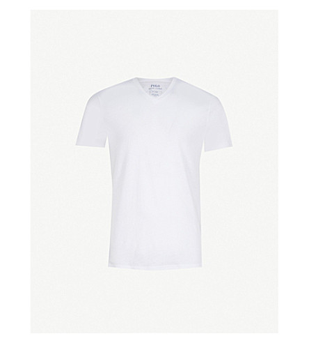 POLO RALPH LAUREN Ribbed two-pack v-neck t-shirt (White