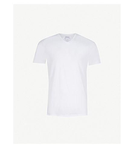 POLO RALPH LAUREN 带罗纹双包 V领 T 恤 (白色