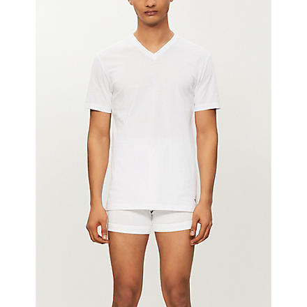 RALPH LAUREN Ribbed v-neck t-shirt (White