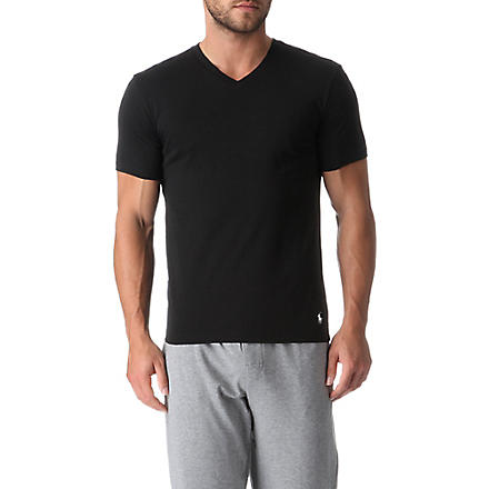 RALPH LAUREN Two pack cotton v-neck t–shirts (Black