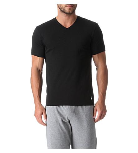 RALPH LAUREN Two pack cotton v-neck t–shirts (Black